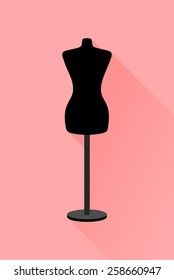 Silhouette icon for black female body shape mannequin . Empty torso dummy for woman, clothes flat and shadow theme design sign, vector art image illustration, isolated on pastel red background