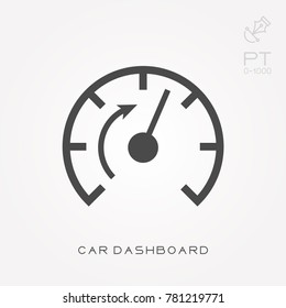 Silhouette icon car dashboard