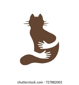 Silhouette icon of cat and hands hug. Human and animal friendship