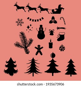 silhouette icon christmas pack vector You can use this silhouette christmas vector for design
