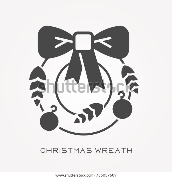Christmas Wreath Silhouette Free.Silhouette Icon Christmas Wreath Stock Vector Royalty Free