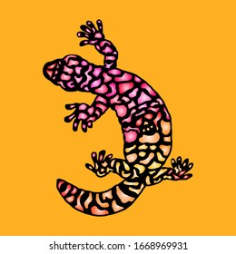 Silhouette icon of a colorful Gila Monster lizard. Vector illustration.