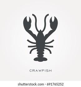 Silhouette icon crawfish