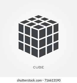 Silhouette icon cube