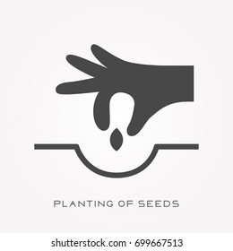 Silhouette icon planting of seeds
