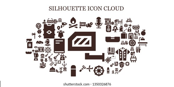 silhouette icon set. 93 filled silhouette icons.  Collection Of - Rearview mirror, India, 3d glasses, Bonfire, Delivery, Microphone, Plane, Helm, Razor, Thermo, Ashtray, Ax, Hacker
