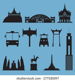 Silhouette  icon set of Bangkok city landmark. Capital of Thailand. Vector Illustration.