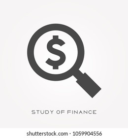 Silhouette icon study of finance