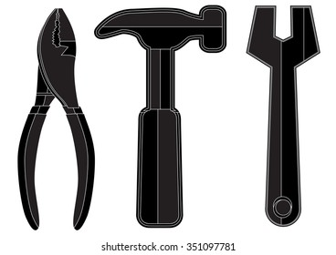 silhouette icon tools - hummer, screwdriver, spanner and pliers