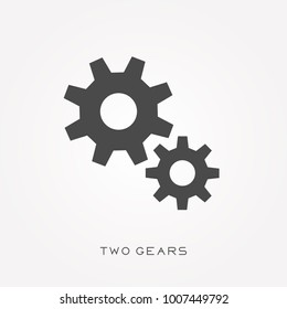 Silhouette icon two gears