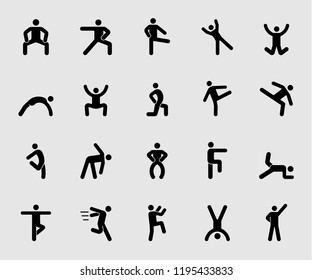 Silhouette icons set for Human exercise 2