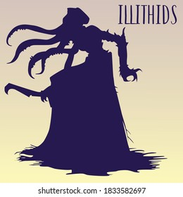 """Silhouette of an illithid monster with tentacles in the style of the game """"Dungeons and Dragons"""" on a yellow background."""
