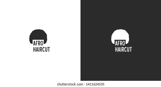Silhouette illustration of the African man's modern hairstyle. Isolated vector black and white flat logo design in minimalistic style for barbershops, haircut salons, hair grooming products