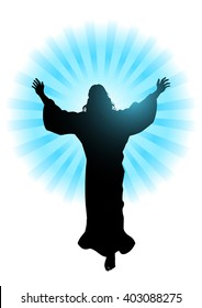 Silhouette illustration for the ascension day of Jesus Christ theme