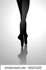 Silhouette illustration of a ballerina's feet
