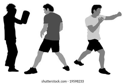 Silhouette / illustration of boxer training