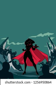 Silhouette illustration of brave cartoon superheroine standing alone in confrontation with the forces of evil as concept for courage and positive power.