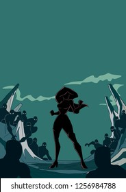 Silhouette illustration of brave cartoon superheroine standing alone in confrontation with the forces of evil as concept for courage and positive power. Copyspace included.