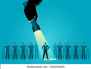 Silhouette illustration of a businessman being flash lighted among other businessmen. Stand out from the crowd, promotion, candidate, chosen, career, business concept