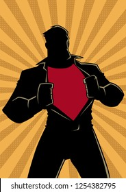 Silhouette illustration of businessman revealing his true identity of powerful superhero.
