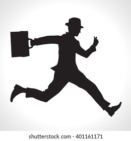 Silhouette illustration of a businessman running with a briefcase