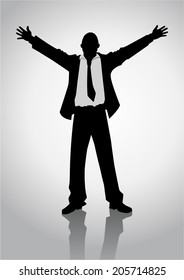 Silhouette illustration of a businessman standing with open arms