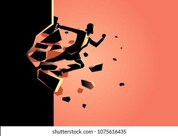 Silhouette illustration of a businesswoman jump breaking the wall. Business, breakthrough, success, challenge concept