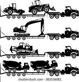 Silhouette illustration of car auto transporter and concrete mixer, bulldozer, excavator, wheel loader, compactor on white background in different positions.