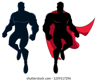 Silhouette illustration of cartoon superhero flying up during mission, on white background and in 2 versions.