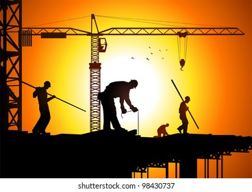 Silhouette illustration of construction workers