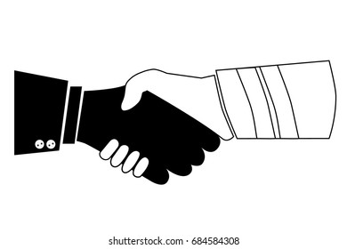 Silhouette Illustration, Cooperation Between Executive / Boss with Worker / Labour