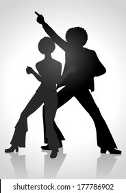 Silhouette Illustration of a couple dancing in the 70s fashion style