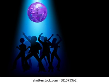 Silhouette Illustration of couples disco dancing on the floor
