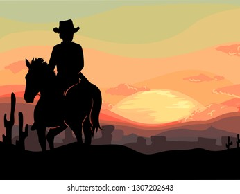 Silhouette Illustration of a Cowboy Man Riding a Horse During the Sunset