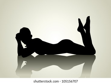 Silhouette illustration of a female figure lying on the floor