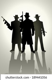 Silhouette illustration of a gangster