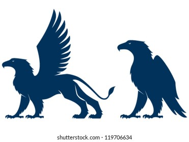 silhouette illustration of a griffin and an eagle