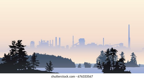 Silhouette illustration of heavy industry looming over a pristine, northern lake.