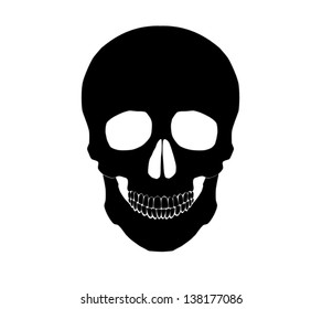 Silhouette Illustration of a human skull Vector