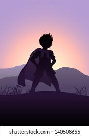 Silhouette illustration of a kid pretending as a superhero