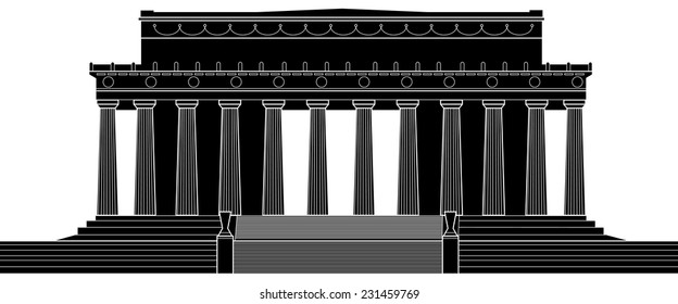 Silhouette illustration of the Lincoln Memorial in Washington, D.C., USA.