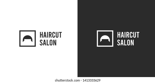 Silhouette illustration of the man modern hairstyle in the square. Isolated vector black and white flat logo design in minimalistic style for barbershops, haircut salons, hair grooming products