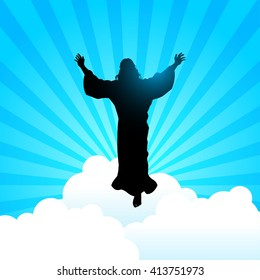 Silhouette illustration of a man raising His hands for the ascension day of Jesus Christ theme