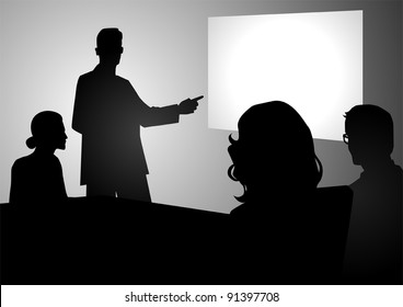 Silhouette illustration of people having a meeting