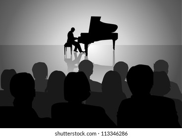 Silhouette illustration of people watching a piano recital