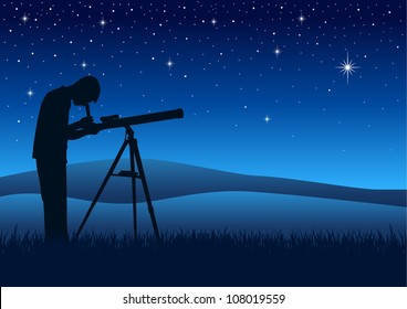 Silhouette illustration of a person looking at night sky through a telescope