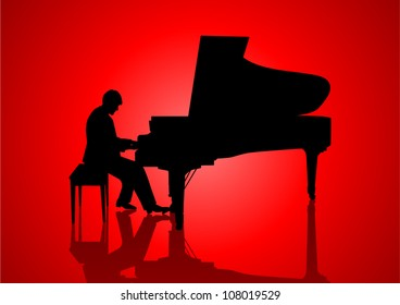 Silhouette illustration of a pianist