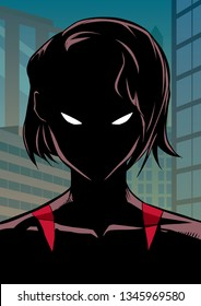 Silhouette illustration of the portrait of a powerful masked superheroine looking at camera with a tough facial expression on city background.