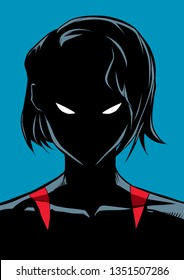 Silhouette illustration of the portrait of a powerful masked superheroine looking at camera with a tough facial expression isolated on blue background.