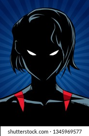 Silhouette illustration of the portrait of a powerful superheroine looking at camera with a tough facial expression on abstract background.